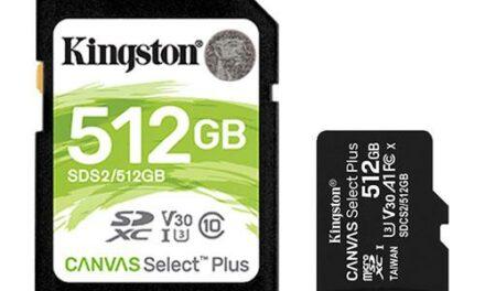 Kingston amplía su porfolio de tarjetas SD y microSD con la llegada de las nuevas Canvas Select Plus