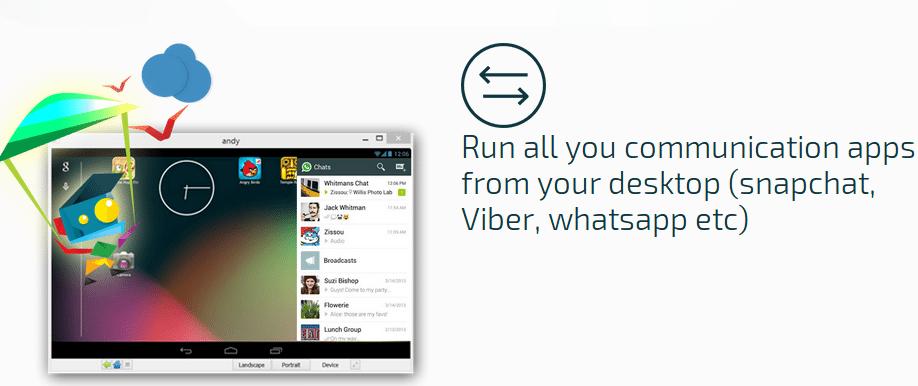 Utiliza WhatsApp en tu PC con Andy OS